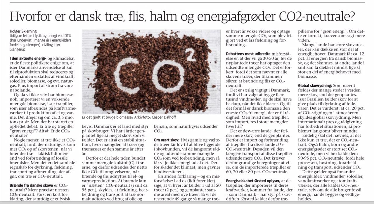 Jyllands-Posten.dk DAPO - Dansk brænde er CO2-neutralt